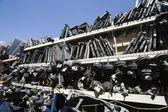 Waste Vehicle Parts On Rack — Stock Photo