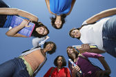 Female College Students Standing In Circle — Stock Photo