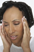Woman Suffering From Severe Headache — Stock Photo