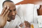 Man With Severe Headache Taking Pill — Stock Photo