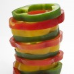 Stack Of Multicolored Capsicum Slices — Stock Photo