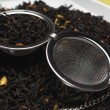 Strainer On Dry Tea Leaves — Stok fotoğraf