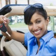 Businesswoman Showing New Car Keys — Stockfoto