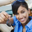 Young Businesswoman Showing New Car Keys — Stock Photo