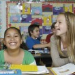Female Friends Laughing In The Classroom — Stockfoto