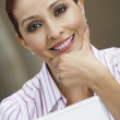 Businesswoman With Laptop Smiling — Stock Photo
