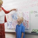 Teacher Talking With Little Boy — Stock Photo