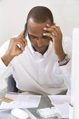 Anxious Man Doing Finances — Stock Photo