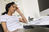 Worried Woman Doing Finances — Stock Photo