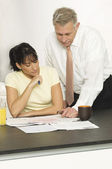 Woman With Advisor In Office — Stock Photo