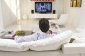 Man Watching TV — Stock Photo
