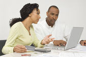 Couple Figuring Out Finances — Stock Photo