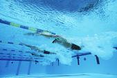 Deelnemers racen in zwembad — Stockfoto