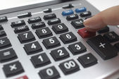 Finger Using Calculator — Stock Photo