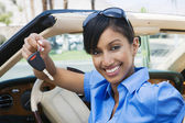 Businesswoman Showing New Car Keys — Stock Photo