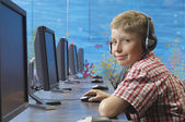 Boy Using Computer In Lab — Stock Photo