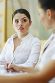 Businesswomen Looking At Each Other During Meeting — Stock Photo