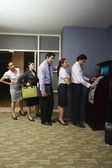 Business Queuing At Vending Machine — Stock Photo