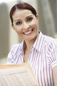 Businesswoman With Newspaper — Stock Photo
