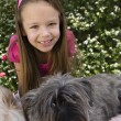 Little Girl With Pets - Stock Photo