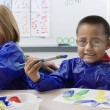 Elementary Students Painting — Foto Stock
