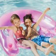 Friends Enjoying In Swimming Pool — Foto Stock