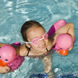 Girl Swimming With Water Ducks — Stock Photo