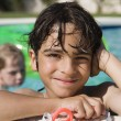 Boy At Edge Of Swimming Pool — Stock Photo