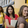 High School Girls Getting On School Bus — Stock Photo