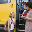 Elementary Students Boarding School Bus — Stock Photo