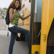 Teenage Girl Boarding School Bus — Stock Photo