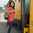 Female Boarding School Bus — Stock Photo #21832345