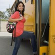 Female Boarding School Bus — Stock Photo