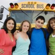 Teenagers By School Bus — Foto Stock