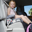 Girl Sitting In Booster Seat — Stock Photo #21832487
