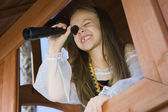 Little Girl Playing In A Playhouse — Stock Photo