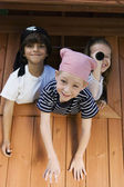 Kids Playing In Playhouse — Stock Photo