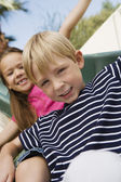 Little Kids on a Slide — Stock Photo