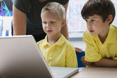 Schoolboys Learning Computer Technology — Stock Photo