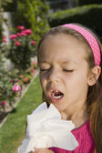 Little Girl Sneezing — Stock Photo