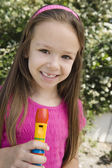 Little Girl With A Recorder — Stock Photo