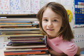 Little Girl With Stack Of Books — Stock fotografie