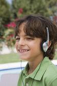 Happy Boy Listening To Music — Stock Photo