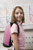 Happy Girl With Schoolbag — Stockfoto