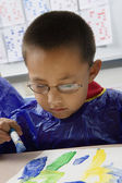 Elementary Student Painting — Stock Photo