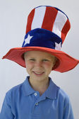 Boy Wearing Stars And Stripes Top Hat — Stock Photo