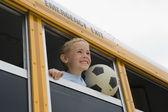 Chlapec na školní autobus — Stock fotografie