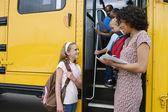 Elementary Students Boarding School Bus — Stock Photo