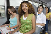 Students In School Bus — Stock Photo