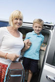 Grandmother Driving Grandson To School — Stock Photo